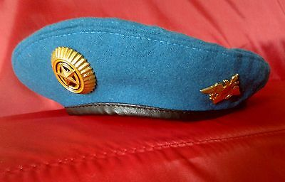 Russian Airborne Troops VDV Uniform Hat - Blue Beret with 2 Badges Airborne Beret