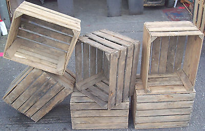 3 solid wooden apple crates boxes - Used apple crates
