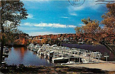 Lake Winnipesaukee Meredith NH Postcard Docked Boats