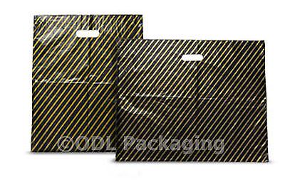 500 Black & Gold Stripe Plastic Carrier Bags 7.5