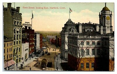 For sale Early 1900s State Street looking East w/Trolleys, Hartford, CT Postcard