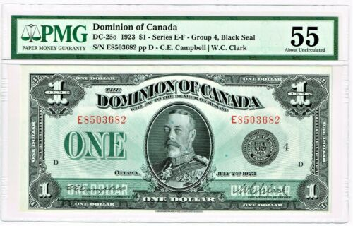 Canada: Dominion of Canada $1 2.7.1923 Pick 33o DC-25o PMG About Uncirculated 55