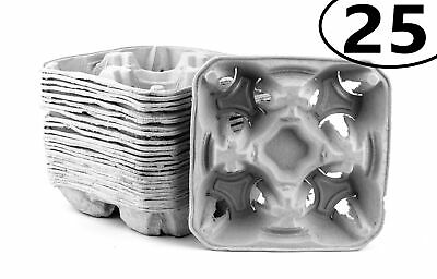 25 Pack Pulp Fiber 4 Cup Drink Carrier Tray Biodegradable Stackable Compostable