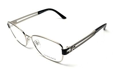 NEW VERSACE 1234 1000 SILVER / BLACK WOMEN'S AUTHENTIC EYEGLASSES FRAME 54-16