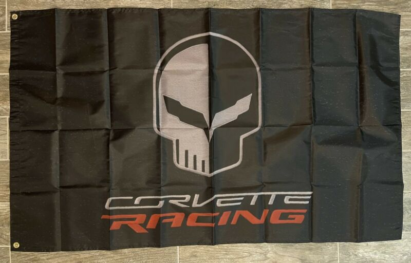 Corvette C7 Skull Racing Logo 3X5 Garage Wall Banner Flag Chevrolet Stingray