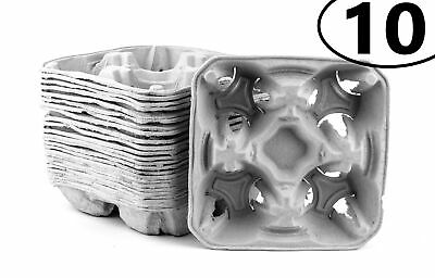 10 Pack Pulp Fiber 4 Cup Drink Carrier Tray Biodegradable Stackable Compostable
