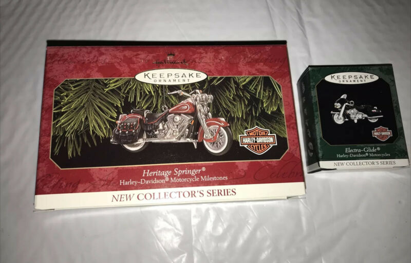 1999  2 Hallmark Heritage Springer Ornament #1 in Harley Davidson Series +mini