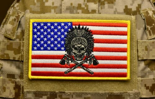 """Large 3""""x5"""" Chief Skull American Flag Patch USA SOCOM SFOD-D CAG SEAL NSW US"""