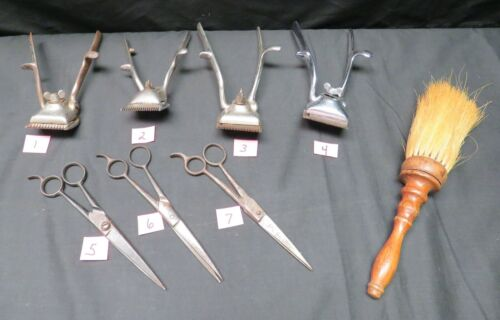 Lot of Vintage Hand Held Barber Clippers, Scissors, & Brush, AS IS