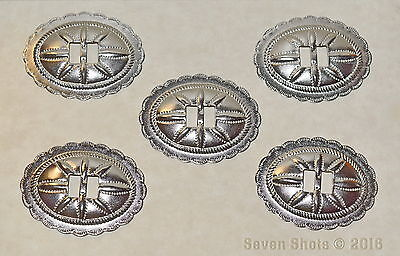 "Set of 5 Silver Plated Oval Conchos / Crafts-Boots-Hats-Belts - Bulk Lot - ""NEW"""