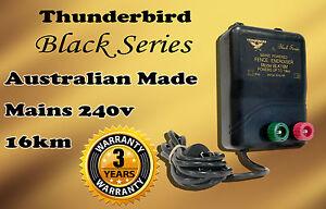 16km MAINS Power Electric Fence ENERGISER Charger Thunderbird M120 Black Farm