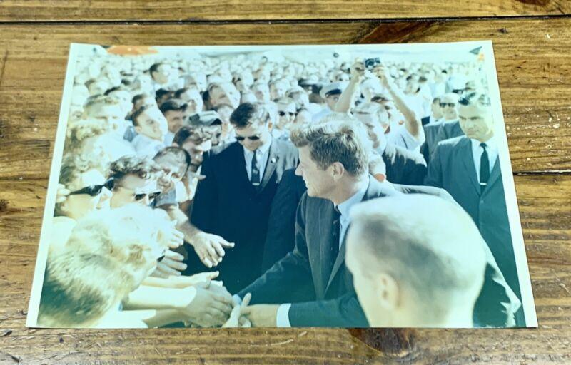 1960s JFK JOHN F. KENNEDY AT MCDONNELL DOUGLAS PLANT PHOTO EARLY NASA KODAK