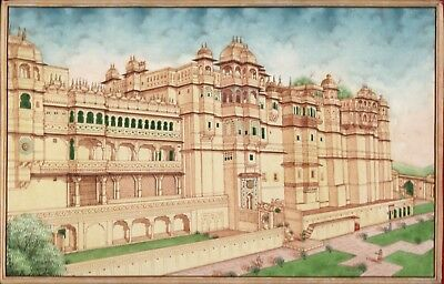 Udaipur City Palace Miniature Art Handmade Rajasthan India Architecture Painting for sale  San Jose