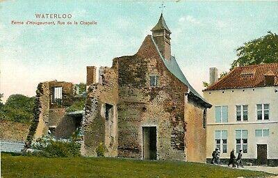 Postkaart van de ruïne, Ferme D'Hougoumont, de Kapelstraat in Waterloo. (3286)