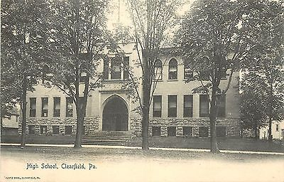 1901 1907 Nice Lithograph Postcard High School Clearfield Pa Unposted