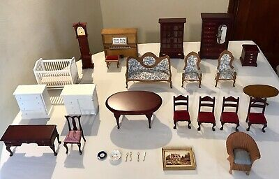 Bundle Vintage Dolls House Furniture Living,Dining Music Room Nursery Lloyd Loom