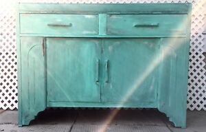 Distressed Teal Sideboard or Buffet