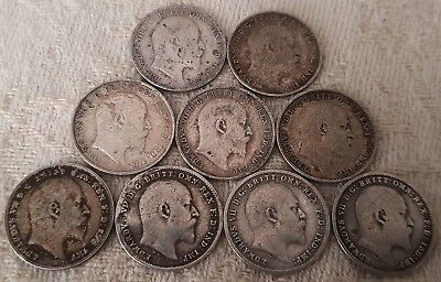 Edward VII ThreePence 1902-1910 Full Year Run 10 Silver Coins Set Lot 1