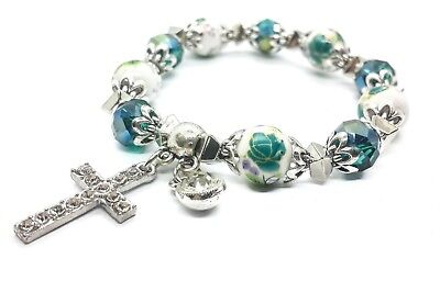 Green Crystals Beads Rosary Wrist Bracelet Hanging Cross Wom