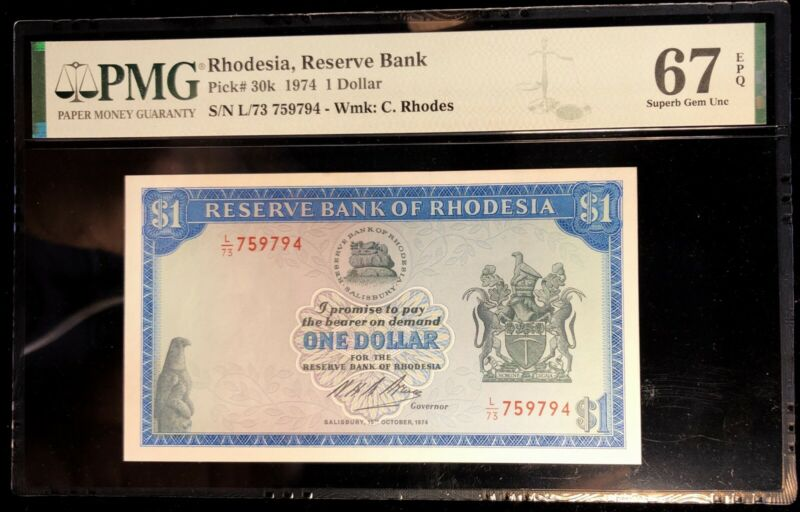 1974 Rhodesia 1 Dollar P-30k PMG 67 EPQ Gem UNC