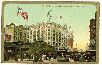 New York City NYC -ELEVATED RAILROAD AT MACYS DEPARTMENT STORE- Postcard (Macys Store New York)