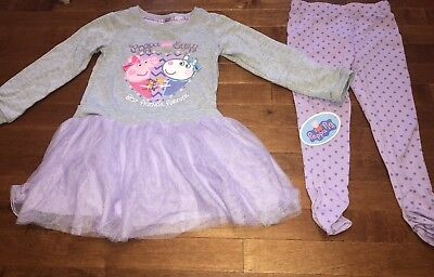 Peppa Pig Suzy Sheep Toddler Girl Long Sleeve Dress & Leggings Outfit New 5T