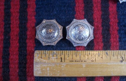 """Vtg PAIR Sterling Silver 1"""" Rope/Star Conchos Western Headstall Bridle Belt"""