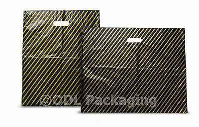 100 Black & Gold Stripe Plastic Carrier Bags 7.5