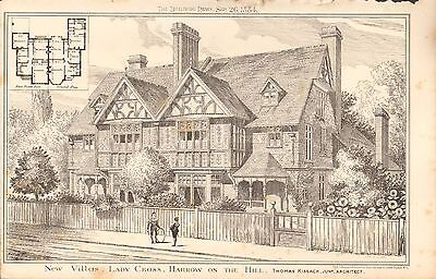 1884 ANTIQUE ARCHITECTURAL PRINT- NEW VILLAS, LADY CROSS, HARROW ON THE HILL