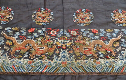 Antique Chinese Robe Border Silk Embroidery of Dragons
