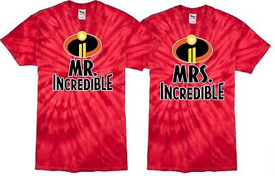 Mr and Mrs Incredible Valentines Christmas Halloween Custom Tie Dye T-SHIRTS  - Mr And Mrs Incredible Halloween