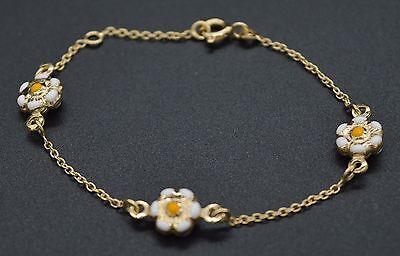 """BM18 14K Yellow Solid Gold 6"""" Enameled Flower Bracelet For Children"""