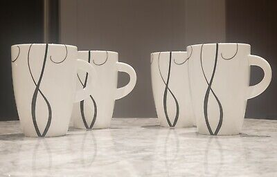 Maxwell Williams Porcelain Coffee/Hot Beverage Mugs - White/Black - Set of 4