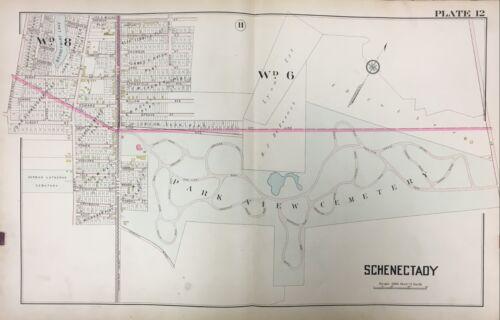 1905 SCHENECTADY NEW YORK PARK VIEW CEMETERY BRANDYWINE LAKE ATLAS MAP