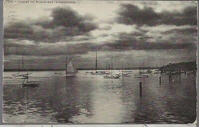 1909 Sailboats at Anchor Seattle Washington PC