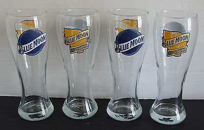 BLUE MOON 100% CALIFORNIA ORANGES SET OF 4pcs PILSNER BEER GLASSES NEW