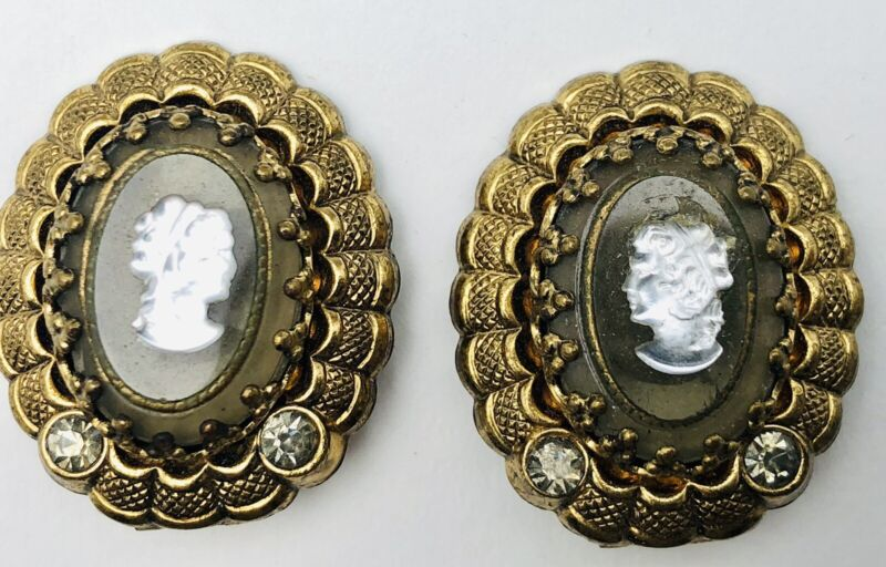 Vintage West Germany Beveled Glass Intaglio Cameo Clip Earrings