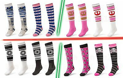 NEW Star Wars Socks Ladies Knee High R2D2 Pink Trooper  Rebel Empire 2 PAIRS!