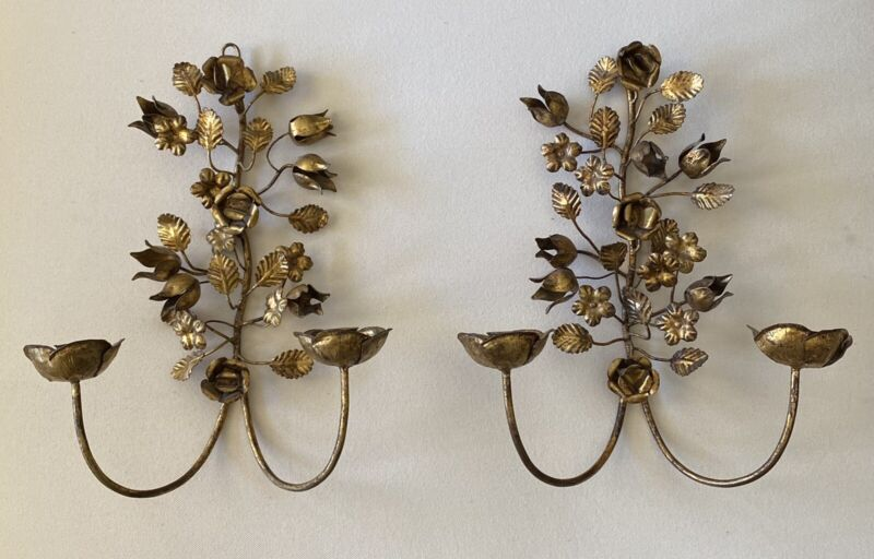 Pair Vintage Italian Tole Gold Metal Flower Leaf Wall Sconce Candle Holders