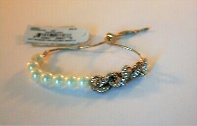 Ralph Lauren gold tone faux pearl & crystal link adjustable bracelet
