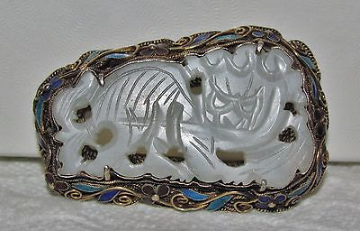 ANTIQUE CHINESE WHITE JADE ENAMEL STERLING SILVER DRAGON PENDANT PIN BROOCH 17.8