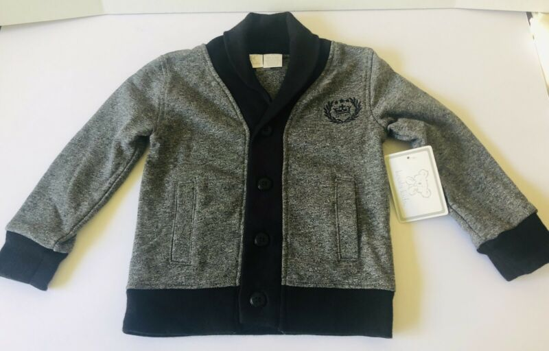 NWT Koala Kids Toddler Boy Sweater Cotton Blend Knit Grey Black Size 3  T