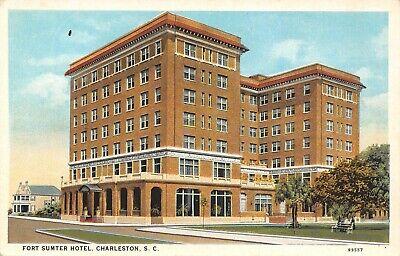 Charleston South Carolina~Fort Sumter Hotel~Big House Behind~Park Bench~1920s