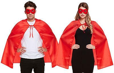 2 x Sehr schöner roter Umhang Superheld Maske - Rotes Superhelden Cape