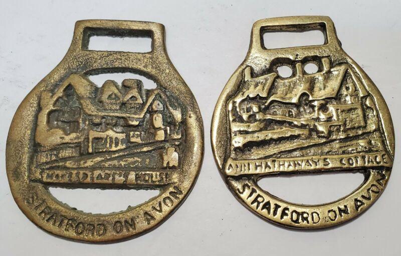 2 Vintage Brass Anne Hathaways Cottage Shakespeare Horse Harness Medallions