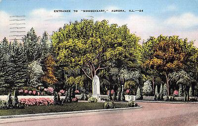 Aurora Illinois (Aurora Illinois 1944 Postcard Entrance To Mooseheart)
