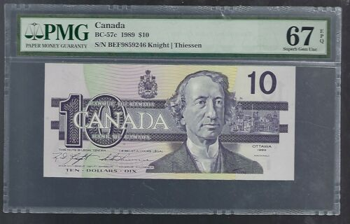 Bank of Canada 1989 $10 Note Prefix BEF- BC-57c - PMG 67 EPQ 400000 Printed