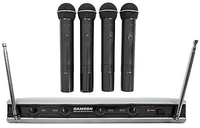 Samson Stage v466 Quad - (4) Handheld Vocal VHF Wireless Microphones Mic System
