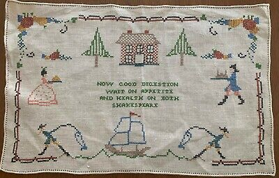Antique Cross Stitch Sampler Placemat w MACBETH / Shakespeare Digestion Quote