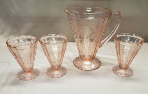 Jeanette Depression Glass Pitcher Pink Poinsettia Lemonade Juice w/  3 GLASSES